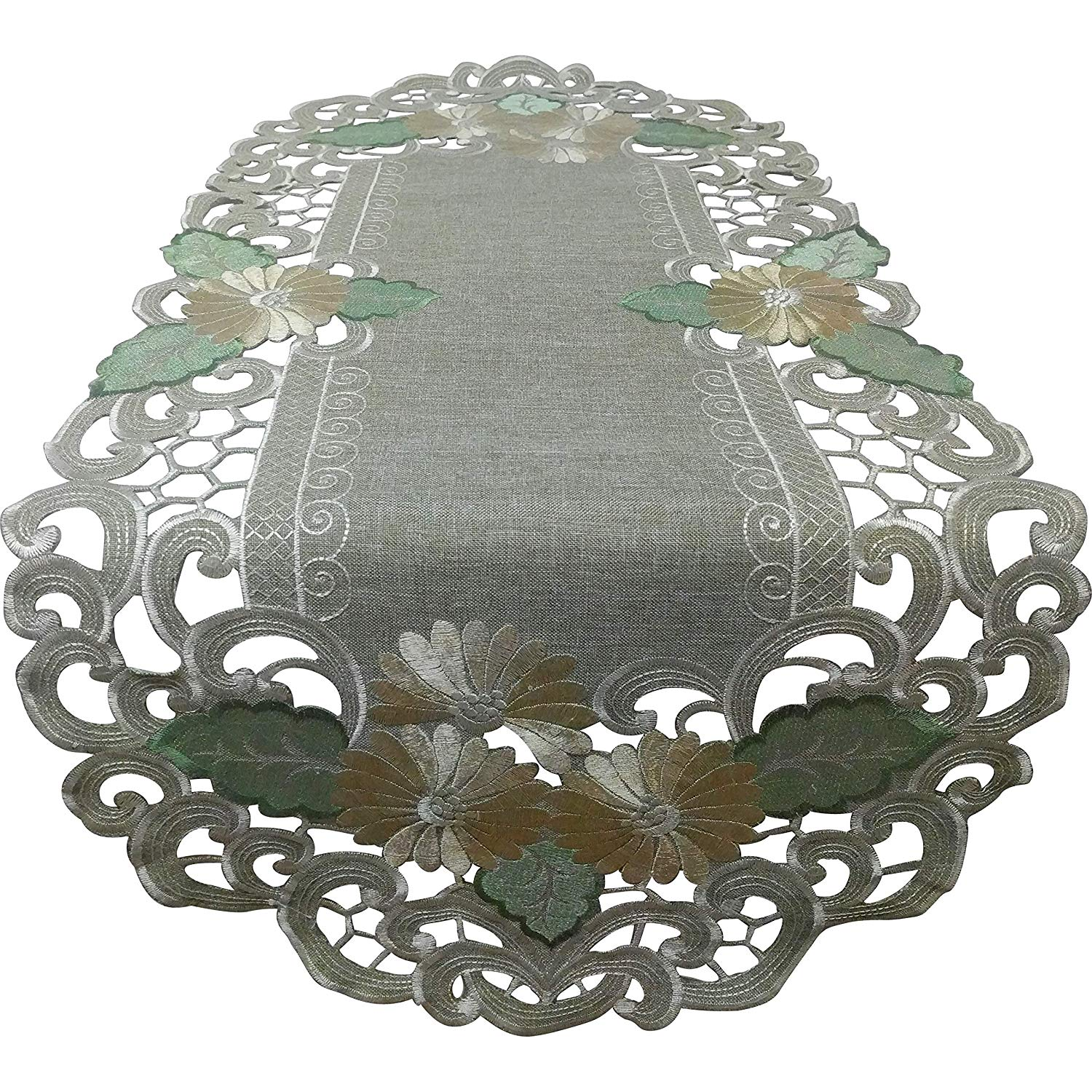 Doily Boutique Table Runner with Gold Daisies on Sage Green Burlap Linen Type Fabric, Size 35 x 16 inches