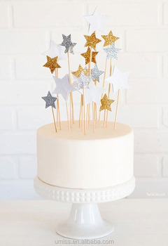 Set Of 20 Star Cake Decoration Toppers Sticks For Happy Birthday Kids Decorating Supplier