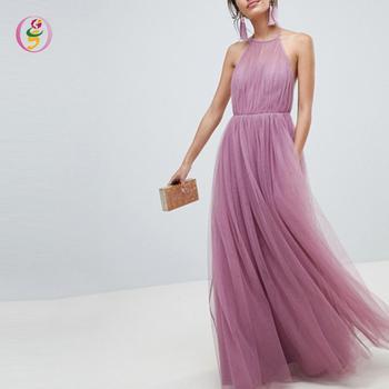 104b8672053 Cuello Halter elegante Sexy espalda abierta Tulle Maxi vestido largo sin  mangas Backless señoras vestido de