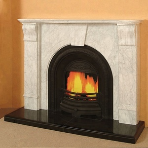The Adelaide White Marble Fireplace with Black Granite Hearth and Base
