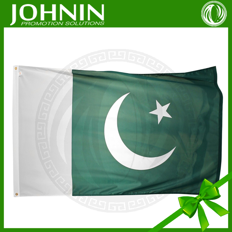 cheap polyester screen printing 3*5ft country national pakistan flag