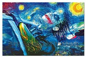 No Frame Starry Night Joker Abstract Oil Painting Printing on Waterproof Canvas,Modern Comics Poster Picture for Wall Decoration Canvas Poster