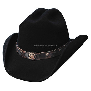 2015 China factory Black Leather Western Cowboy Hat with Conchos & Rivets Hat Band HT 8209