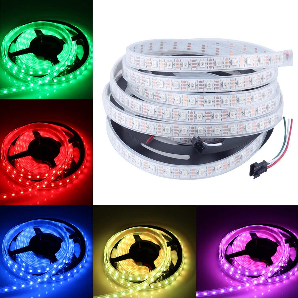 CHINLY 16.4ft WS2812B Individually Addressable LED Strip Light 5050 RGB SMD 300 Pixels Dream Color Waterproof IP67 White PCB 5V DC