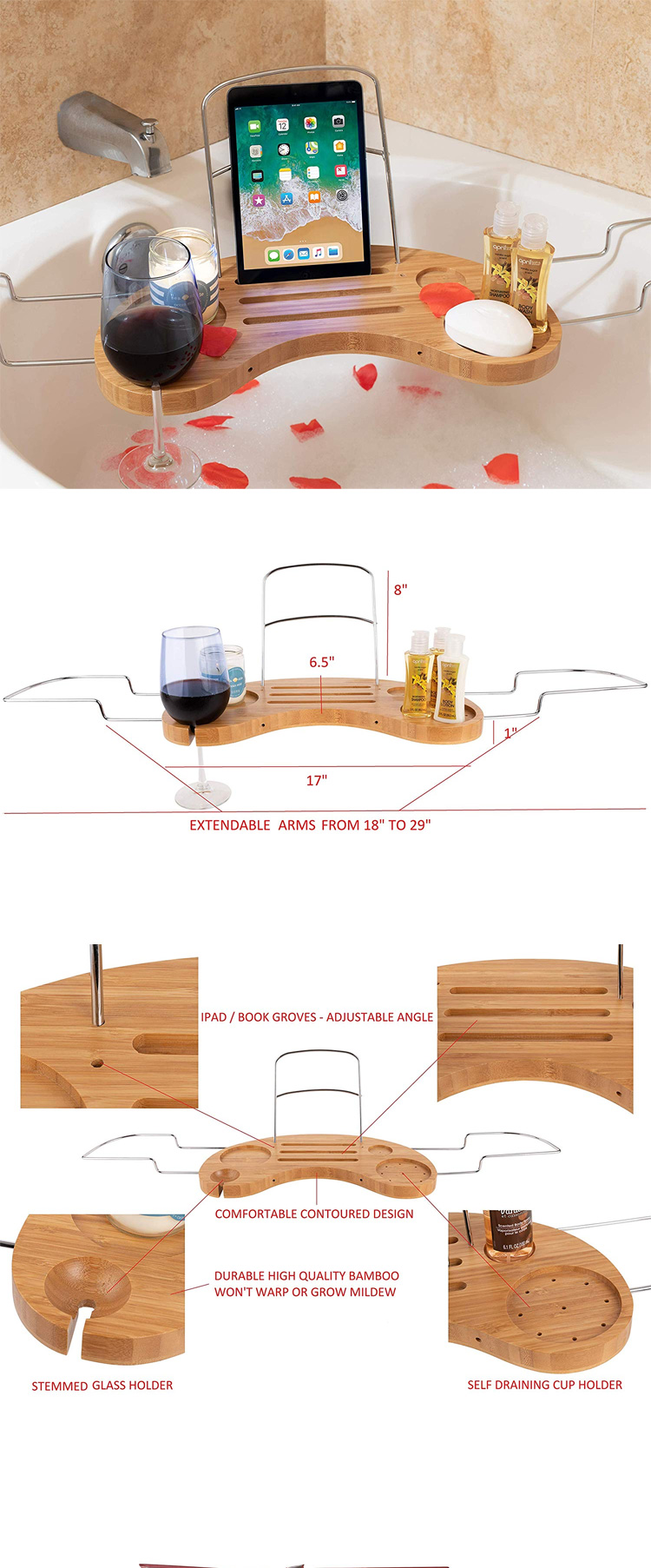 High Quality Luxury Bathtub Caddy Tray  Bamboo