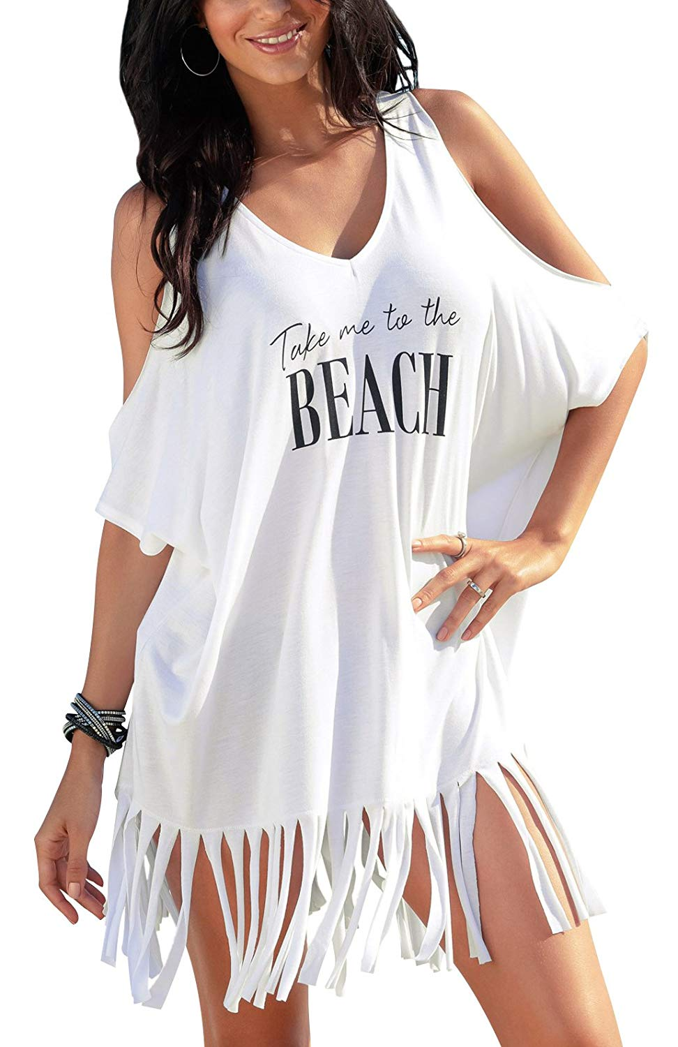 01ce7e6a53722 Get Quotations · Oryer Womens Letters Print Baggy Swimwear Bikini Cover up  Beach Dress T-Shirt