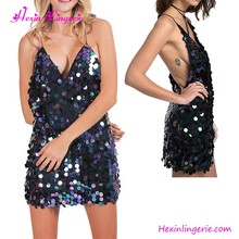 Sexy Navy Blue Backless V Neck Club Wear Mature Sequin Dress Women