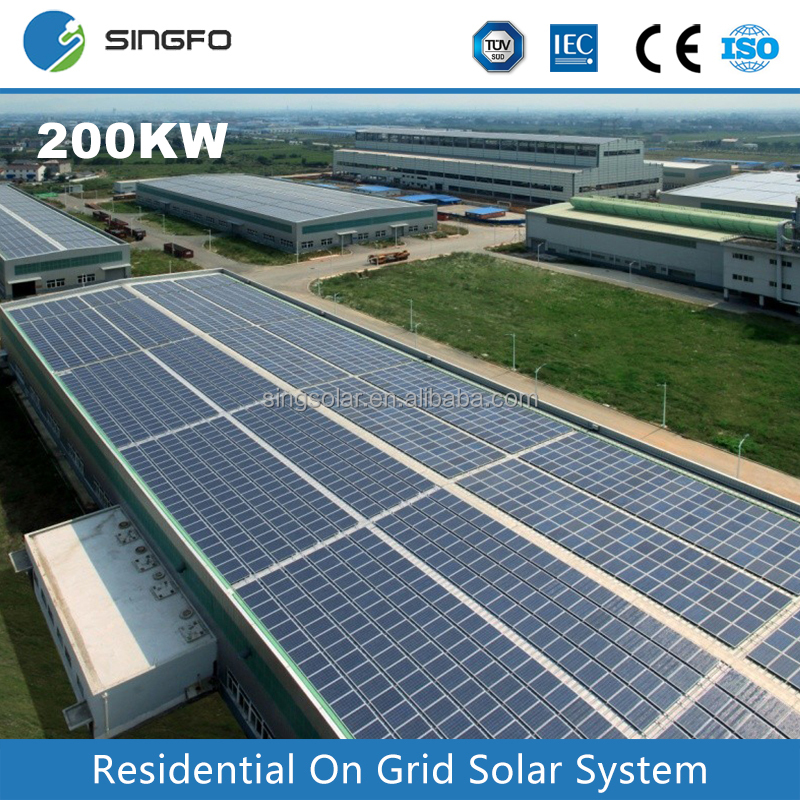 Singfo China Best 80KW 90KW 100KW Factory Project Plate Roof Top Grid Tied Solar Power Energy System