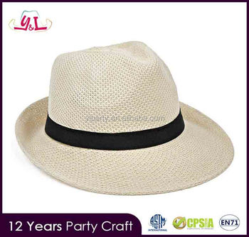 2017 New Premium Personalized Polyester Hat Paper Straw Hat For Summer  Panama Hat Cheap ca167ca9bab8