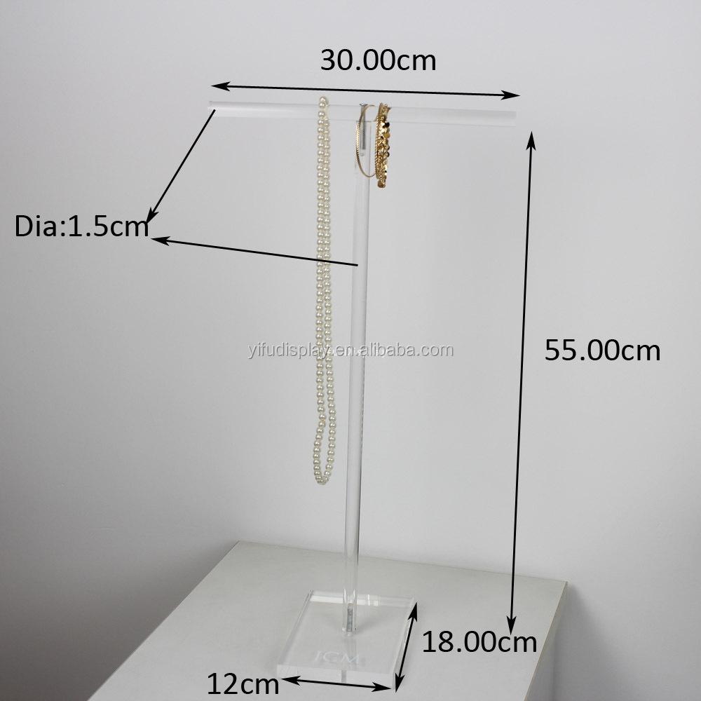 Acrylic T-bar Necklace Display Stand Acrylic Jewelry Display ...
