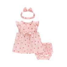 Baby Girl Bow Cotton Ruffle Bloomers Panties Headwear 3 Piece Suit Sweet Newborn Dresses Outfits Clothing Sets