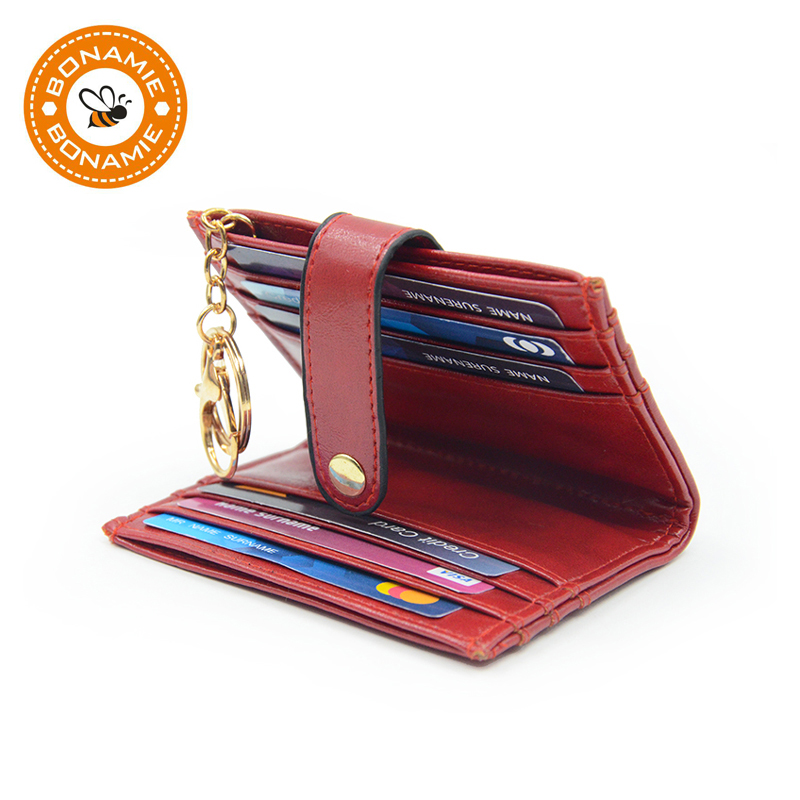 Candy Color Foldable Flap Closure Keychain PU Card Wallet