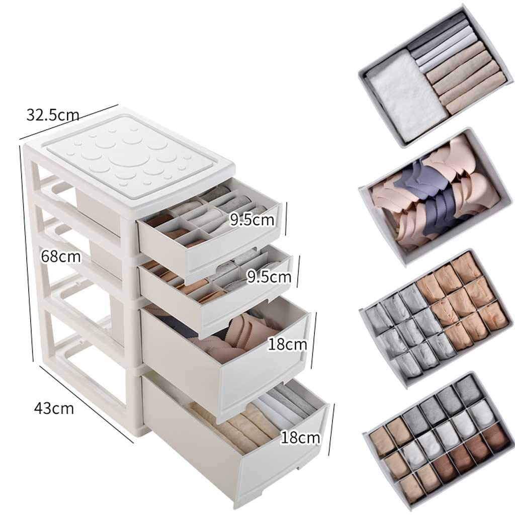 storage box Drawer Underwear, Storage Cube Wardrobe with 18 Small Styles and Hide Handle, Storage Bin/Container with Dividers for Bras Socks, Scarves (Color : White, Size : C(2 Big 2 Small))