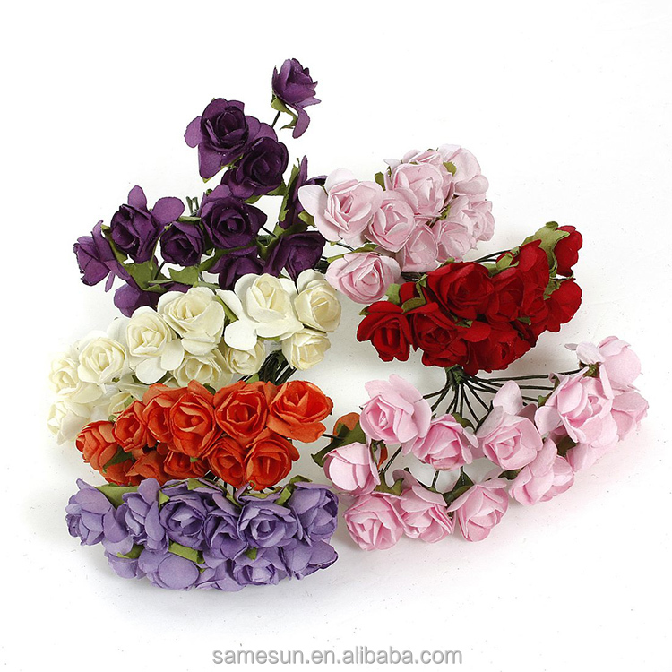 Colorful Rose Artificial Paper Flowers for Wedding Decoration