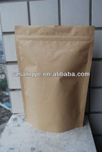 Stand up kraft paper bag with zipper for snack package