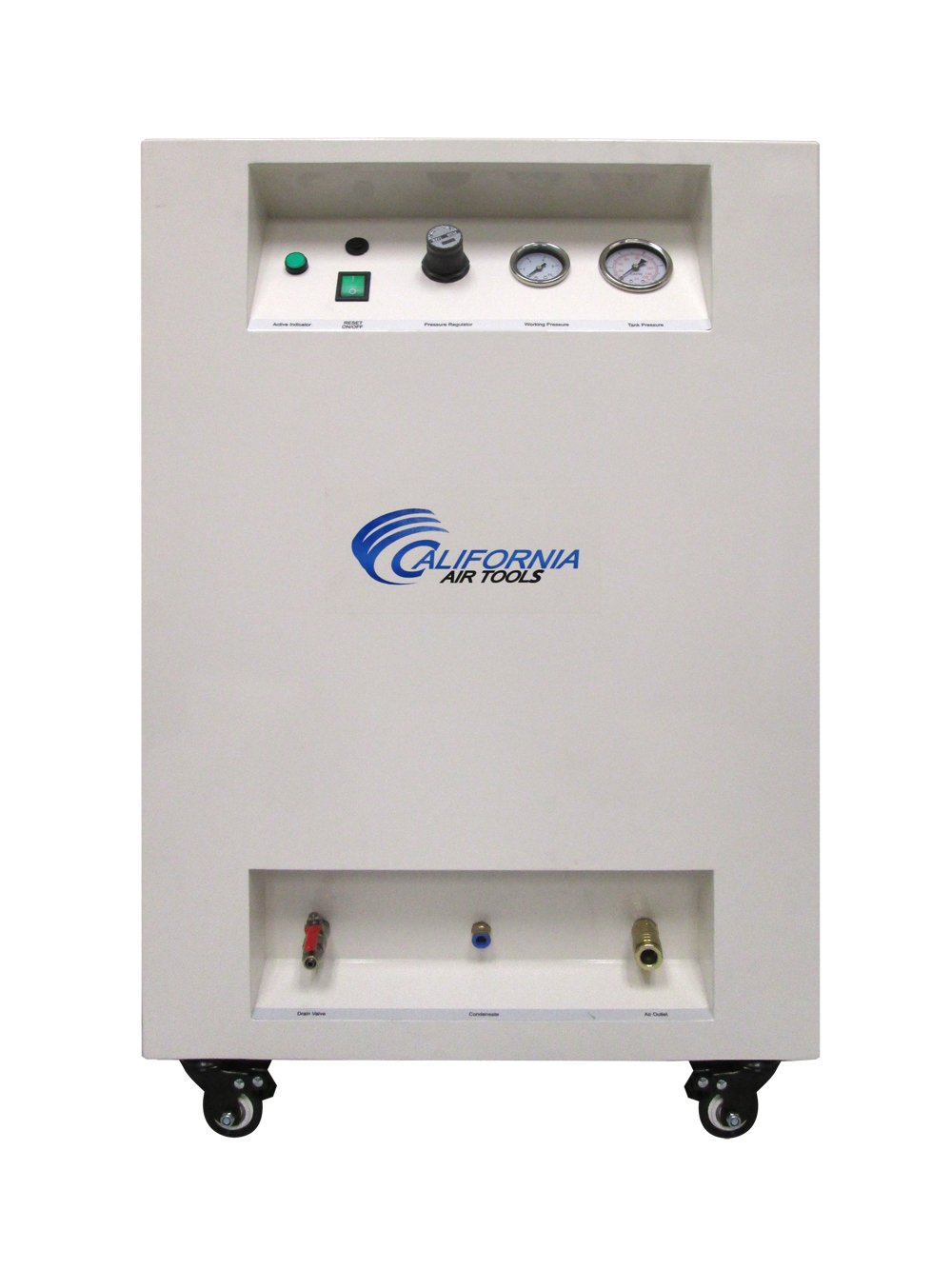 California Air Tools 10020SPC Ultra Quiet & Oil-Free 2.0 hp Steel Tank Air Compressor in Sound Proof Cabinet, 10 gal, White