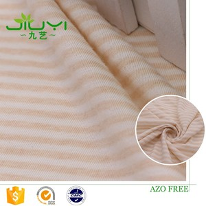 wholesale natural striped jersey knit wholesale pure cotton baby bedding fabric organic cotton fabric