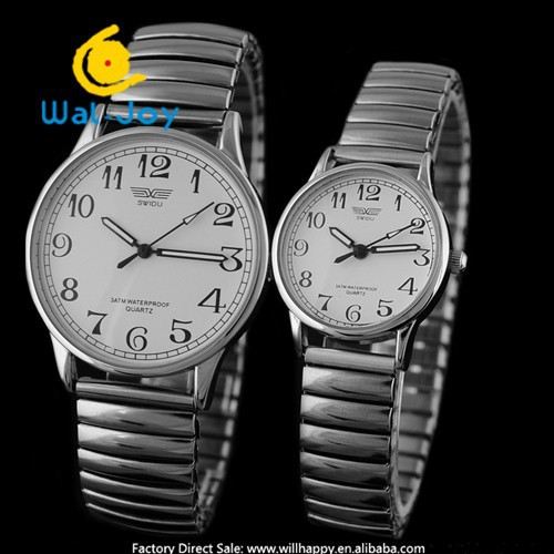 WJ-3104 SWIDU Brand Simple Custom Men And Women Unisex Alloy Spring Strap Watch
