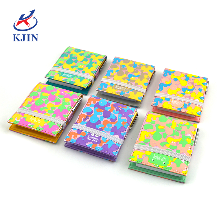 Portable small cute high quality PU cover notebook with ballpen for kids