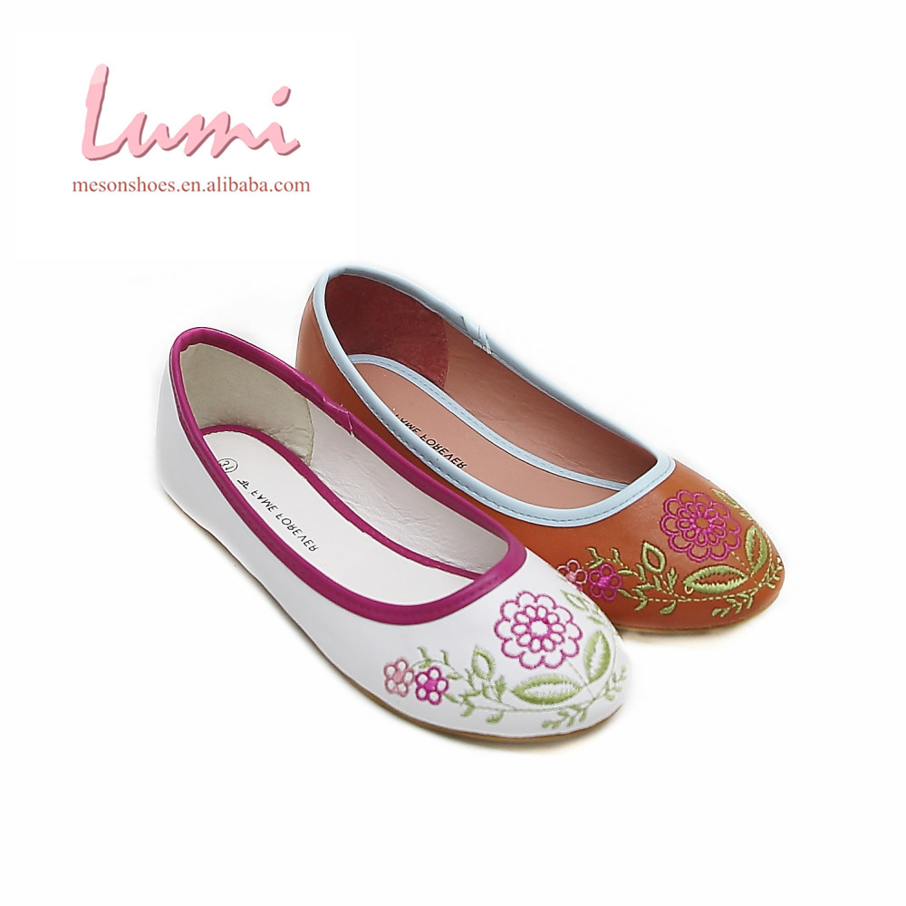 Embroidery kids ballet orange nude sofety girls flats shoes