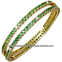 Indian real gold bangle design jewelry, Gemstone gold bangle from India, solid gold bangle jewellery manufacturer
