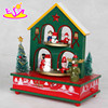 USA interesting warm house wood chirstmas music box,High quality wooden Christmas music box with a house structure W07B005B