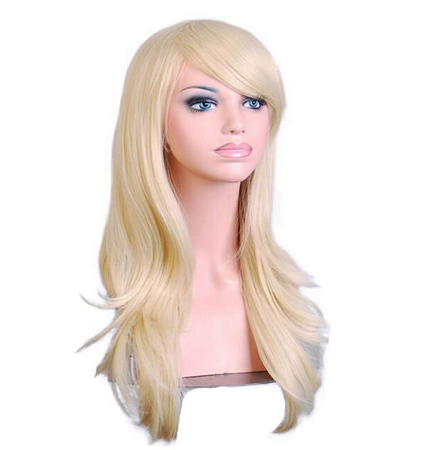 get quotations 70 cm harajuku cosplay wig anime women long curly synthetic hair light goldblonde wig