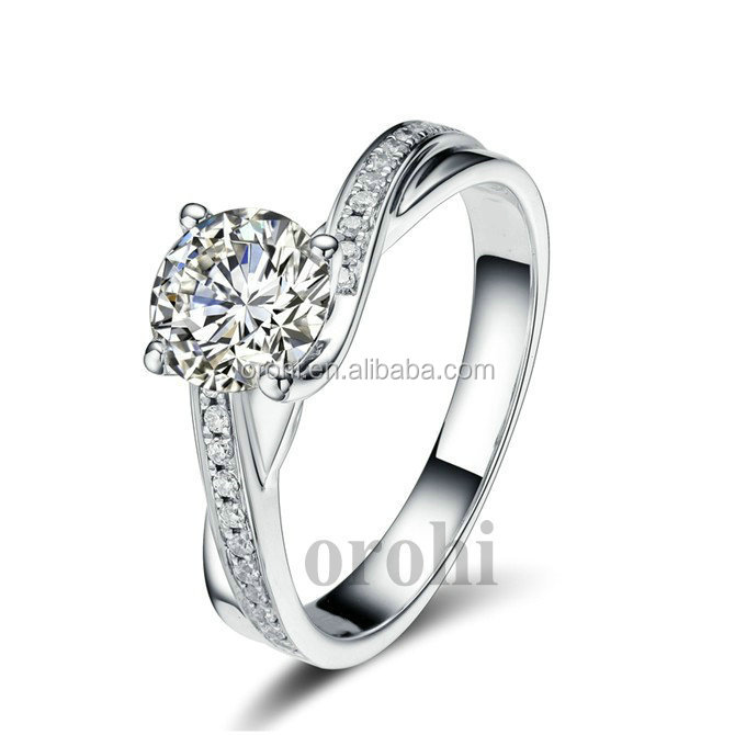 2015 New Jewelry Pure White Gold 4 Prongs Diamond Engagement Ring ...