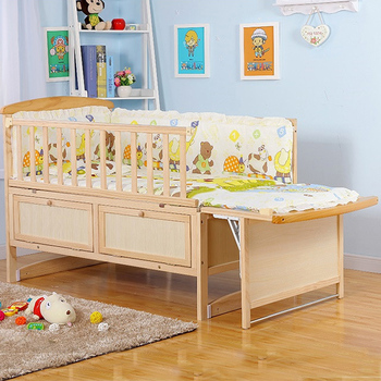 Hotselling Adult Size Baby Crib Pine Wood Crib Attached