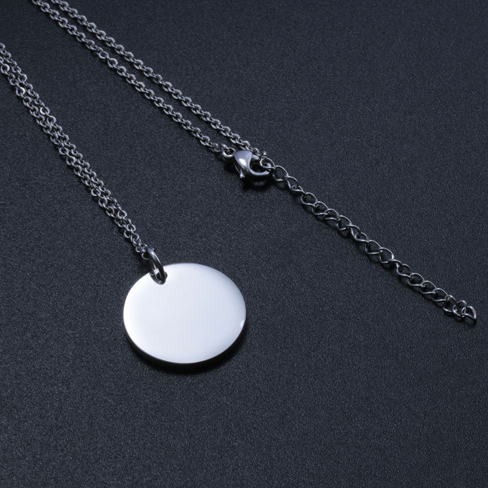 Hot Selling Design Round Blank Stainless Steel Engraved Pendant Chains