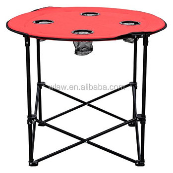 Camping Round Collapsible Portable Picnic Table With 4 Cup Holders And Carry Bag Product On
