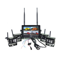 2018 4CH Quad 7'' LCD Monitor Wireless Multi Cameras System for Cars Parking Guide System
