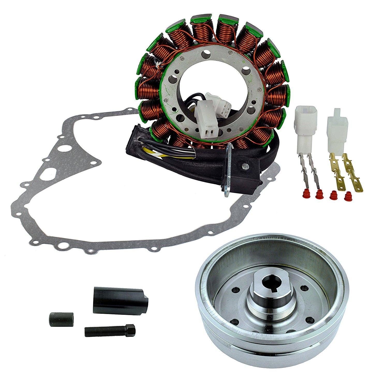 Kit Stator + Crankcase Cover Gasket + Improved Magneto Flywheel + Flywheel Puller For Suzuki LTF 400 Eiger / 400 Manual 2002 2003 2004 2005 2006 2007 2008