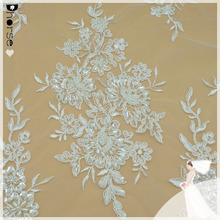 "DH-BF802 Milk Silk White Lace Fabric Flower Embroidery Floral Lace Wedding Lace Fabric 52"" Width"