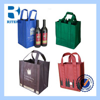 wholesale cheap reusable shopping win non woven bags for 4/6 bottle gift bags