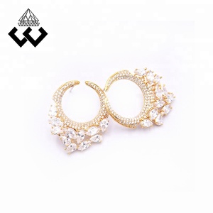 Custom Unique Brass Jewelry Ear Studs Gold Plated Earring For Women