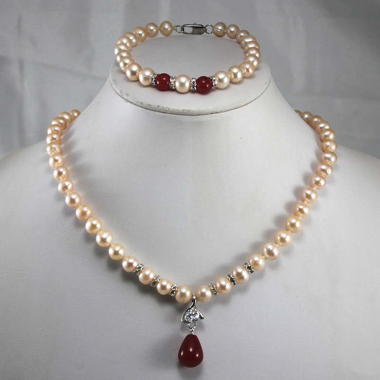 Cheap Pearl Necklace Sets: Anniversary! Wholesale Women's Pink Pearl Pendant Necklace