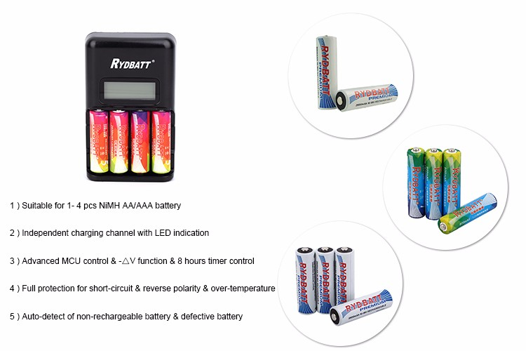 High Quality Long Duration Time Rydbatt/rydelec 4 Slot AA/AAA NiMH LCD Smart Charger