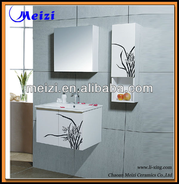 White color modern pvc sliding door bathroom vanity