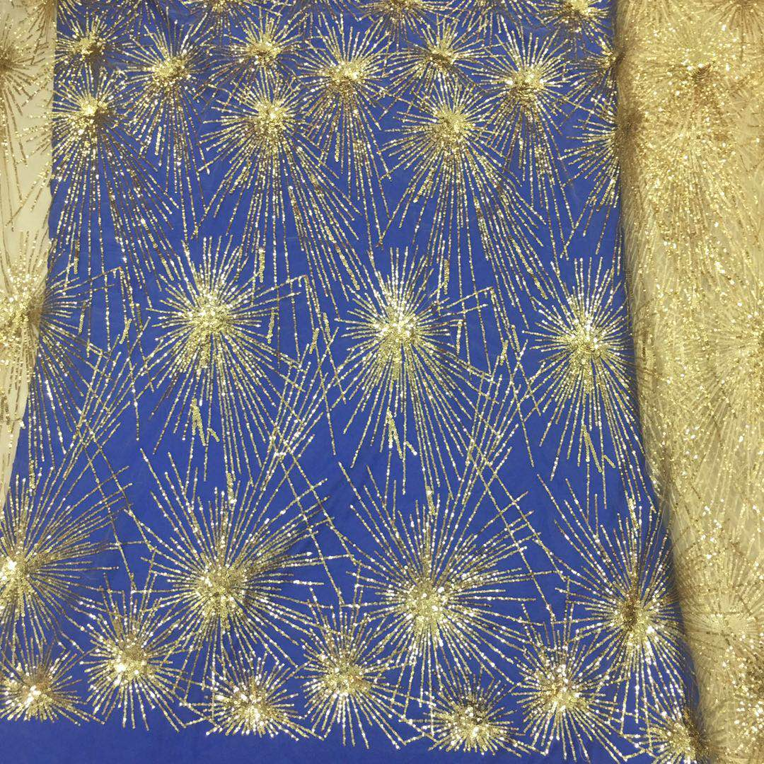 Newest expensive sequins lace fabric gold lace fabric