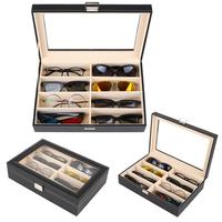 8 Slot Eyeglass Sunglass Storage Box PU Leather Glasses Display Case Storage Organizer Collector