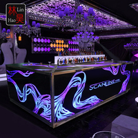 Standard size l shaped light up illuminated furniture bar standing front desk reception desk counter