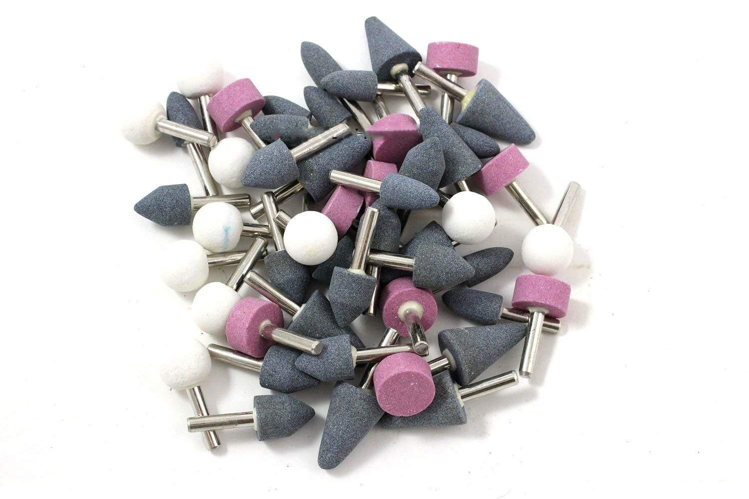 """ESKALEX>>50 PACK MOUNTED ABRASIVE GRINDING STONES 1/4"""" SHANK DRILL And ASSORTED SHAPES FOR USE IN MOST APPLICATIONS 1 1/4"""" LONG 1/4"""" SHANKS PERFECT FOR THE SHOP OR GARAGE GREAT VALUE"""
