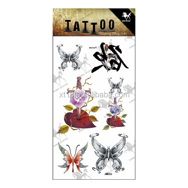 HM003 Beauty Removable Waterproof Temporary Tattoo 3D Butterfly Tattoo Body Art Sticker 10.5*20.5CM