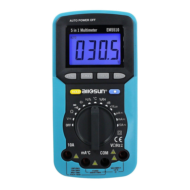 all-sun Portable Autorange Digital Multimeter Automotive AC DC Volt Lux Meter Sound Temp Humidy Tester DMM