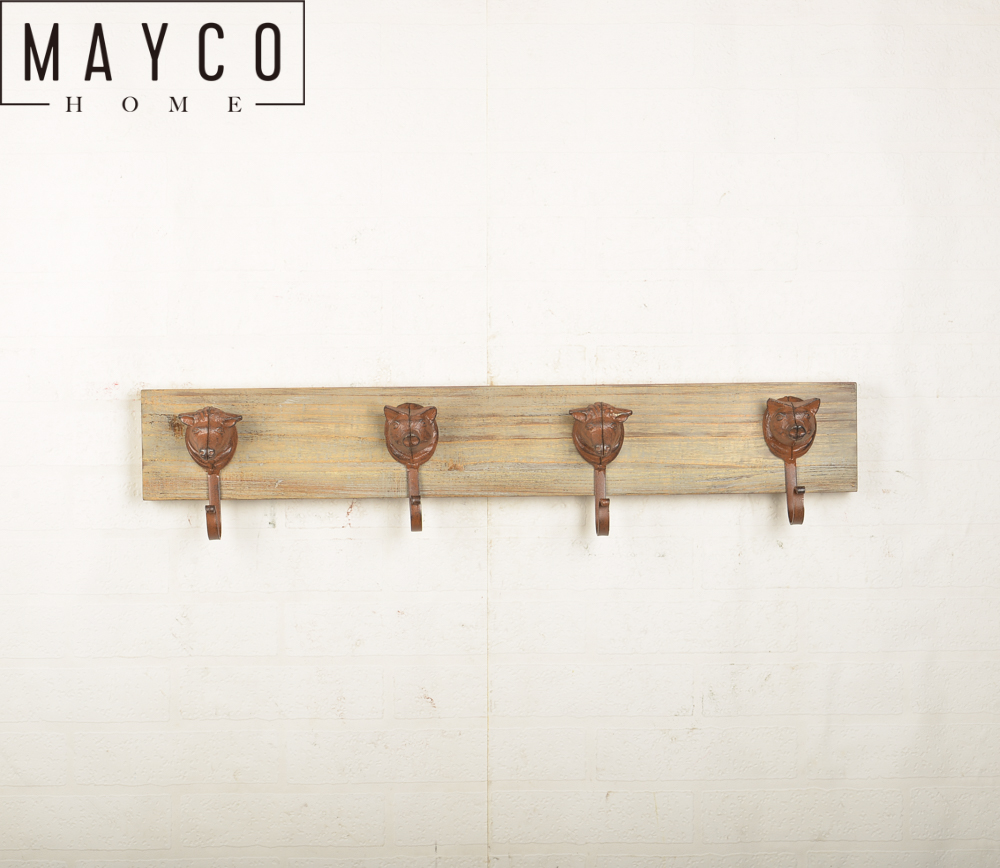 Mayco Antique Rustic Cast Iron Decorative Wall Mounted Coat Rack and Key Hooks for Hanging Clothes
