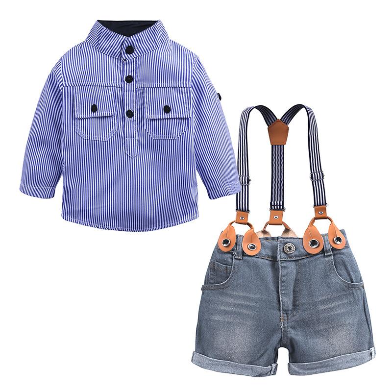 f83adf2f895 Dernier Style Garçon Beau Vêtements Mode Enfants Jarretelles Avec Chemisier  Rayé Vêtements Pour Enfants