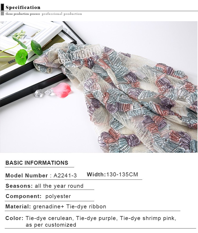 High quality garment accessories Tie-dye flower embroidery lace fabric with small holes fabric materials