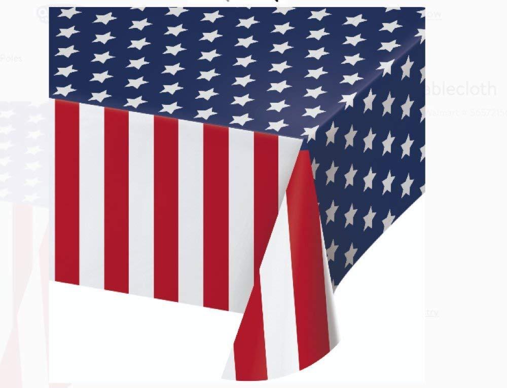 "Patriotic Flag Plastic Tablecloth Cover 54"" x 108"" Red & White Stripes & Blue Stars"