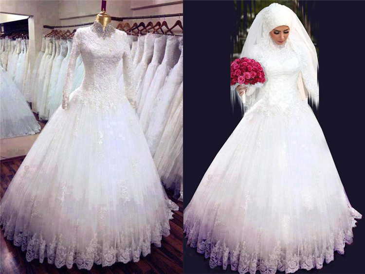 Custom pure white arab long sleeve lace a-shape arabian wedding gown high neck muslim bridal wedding dress